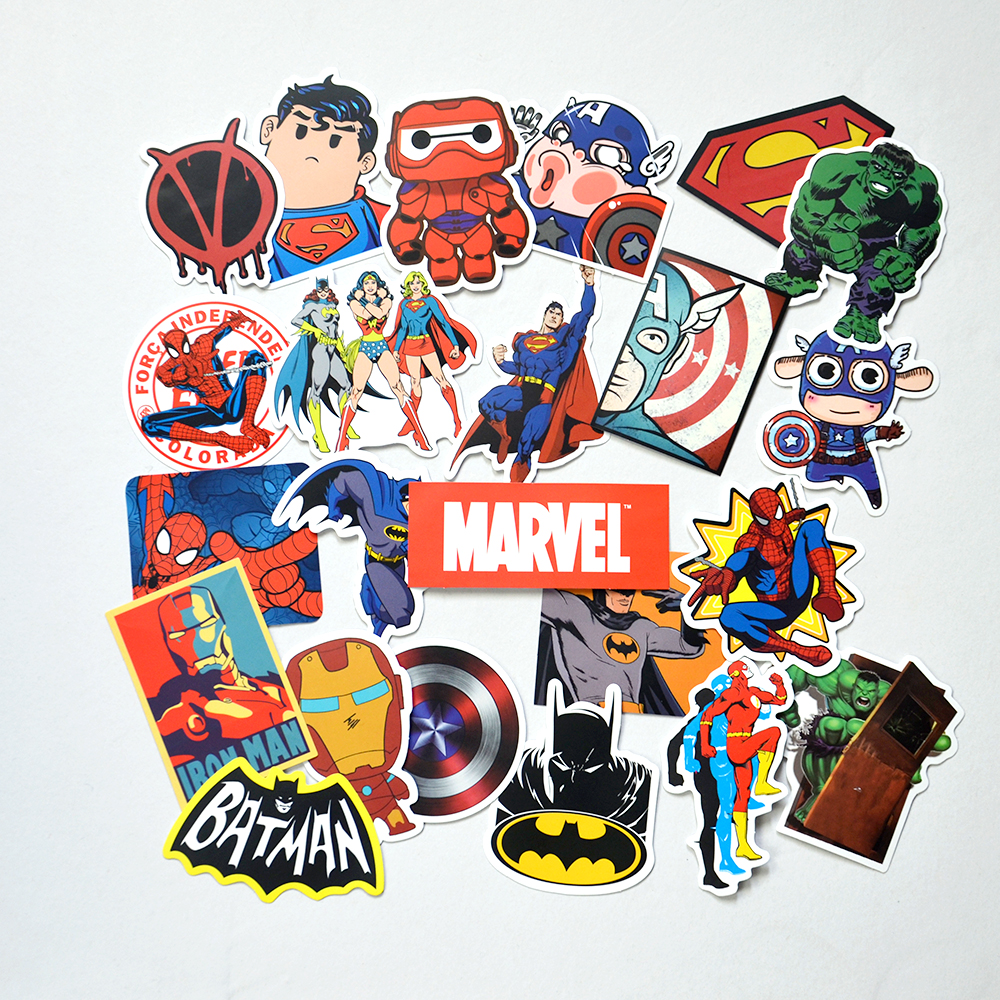 Car cutting sticker design - 25 Pcs Super Hero Marvel Batman Cartoon Safe Toys Cool Stickers For Kids Children Luggage Notebook Laptop Sticker Car Styling