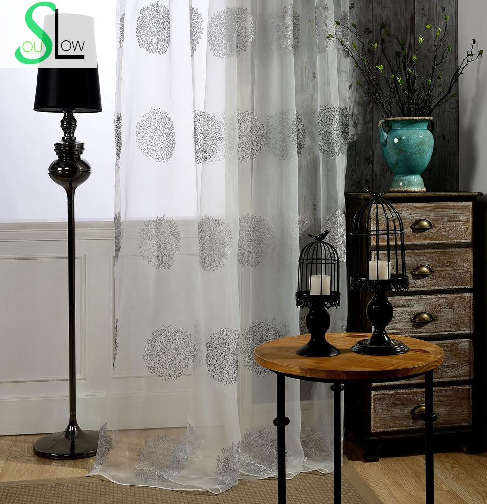 Flowers Yarn Embroidered Curtain Korea Floral Window Pastoral Translucidus Curtains For Living Room Tulle Kitchen Sheer Bedroom(China (Mainland))