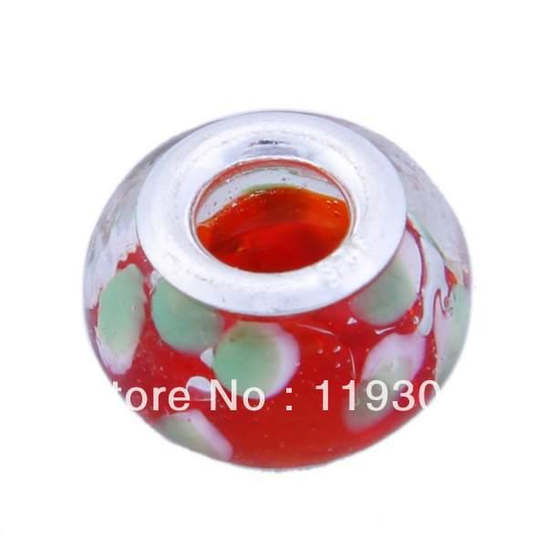 1pc Charm Flower Red Lampwork Glass 925 Sterling Silver Loose Beads Big Hole Fit European Jewelry Bracelet Craft DIY - ShangHai Aokeshen co., LTD store