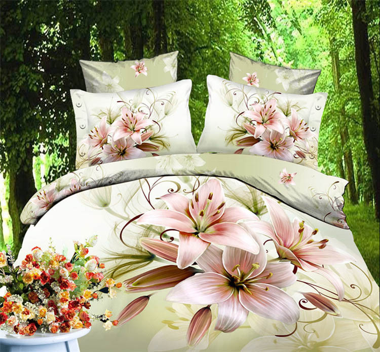 3d white lily beding sets and duvet cover bedsheet coverlet cover bed linen bedding set 3d frozen bed no towel economical B2692(China (Mainland))