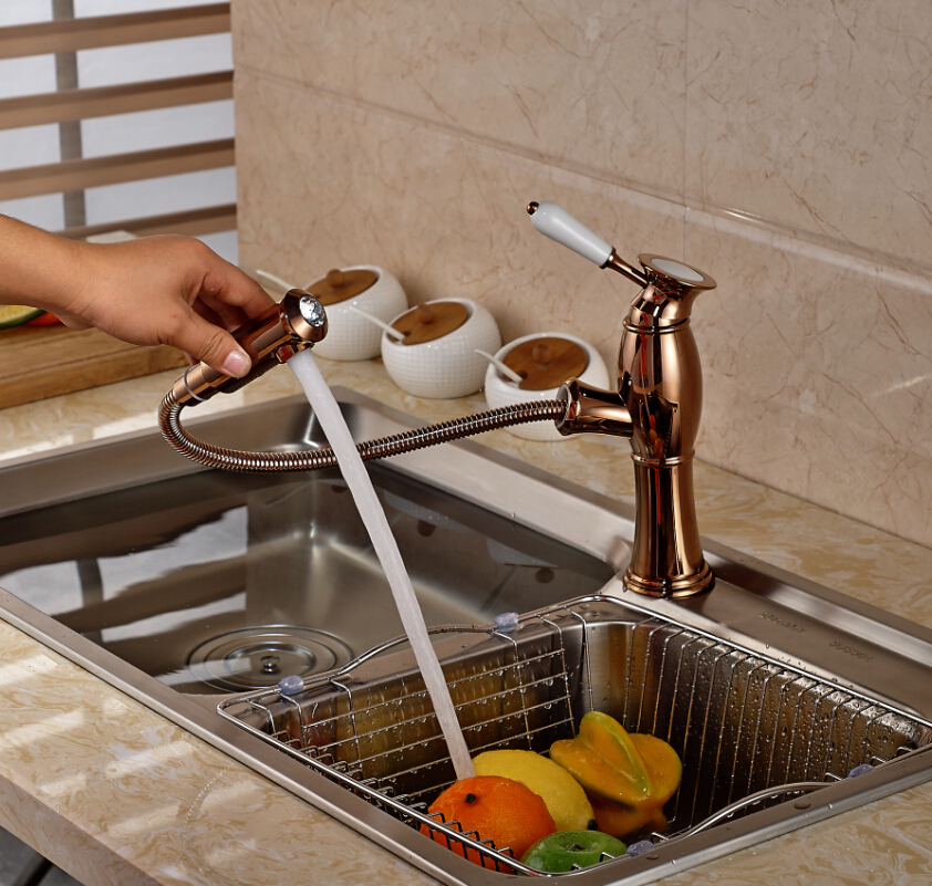Фотография Rose Gold Single Lever Kitchen Sink Faucet Deck Mounted One Handle Mixer Tap