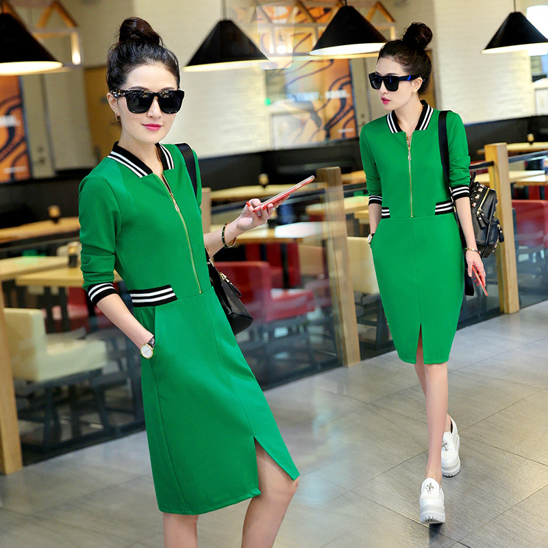 Здесь можно купить  Spring Autumn Korean Long Sleeve Sports Leisure 100% Cotton Slit Slim Hip Dress Black/Green/Orange  Одежда и аксессуары