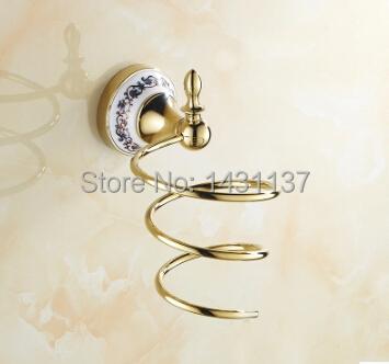 Gold Plating Brass Bathroom Hair Dryer Holder Bathroom Accessories Storage And Rack And Holder