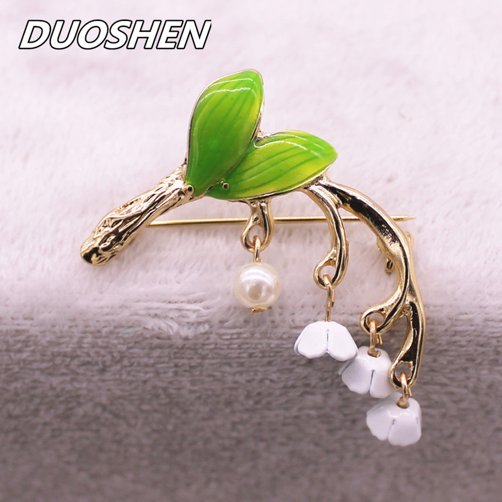 Forest series green enamel plant style drop glaze alloy tree branch Imitation pearl girl collar pin brooch factory direct sale(China (Mainland))
