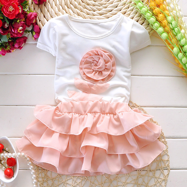 2016 Summer baby cloths girl set cotton short sleeve T shirt+skirt suit baby girls clothing children's girl suit kids wholesale(China (Mainland))