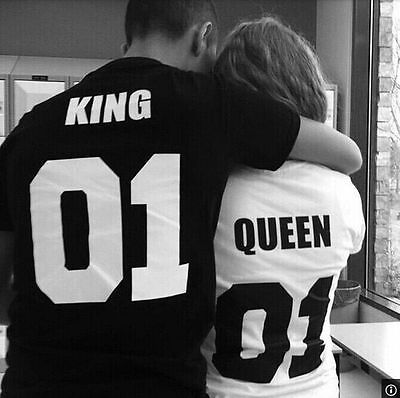Valentine Shirts Woman Cotton King Queen 01 Funny Letter Print Couples Leisure T-shirt Man Tshirt Short Sleeve O neck T-shirtОдежда и ак�е��уары<br><br><br>Aliexpress