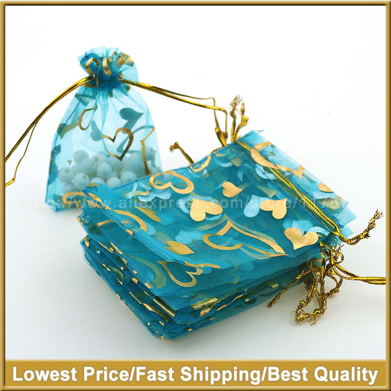 7x9cm Light Blue Heart Bronzing Organza Jewelry Popular Bags Cheap Organza Pouches Coffee Beans Bgas 100pcs/lot Wholesale(China (Mainland))