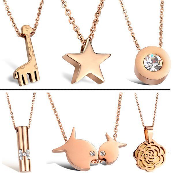OPK JEWELRY 5pcs/lot 316L stainless steel pendant necklace rose gold plated necklaces top quality free shipping