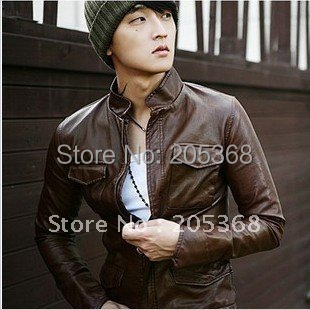 Hot Slim Men's Leather Jackets Male Leather Motorcycle Thick Warm Jacket Color:Black,Brown,White Size:M-XXL