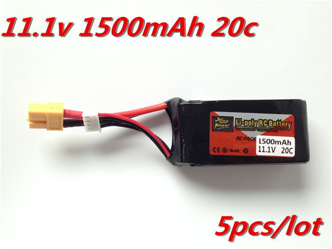 5pcs/lotg ZOP Power Lithium Polymer Lipo Battery 11.1v1500Mah 2s 20C JST for RC Car Airplane Helicopter Aircraft Bateria Lipo(China (Mainland))