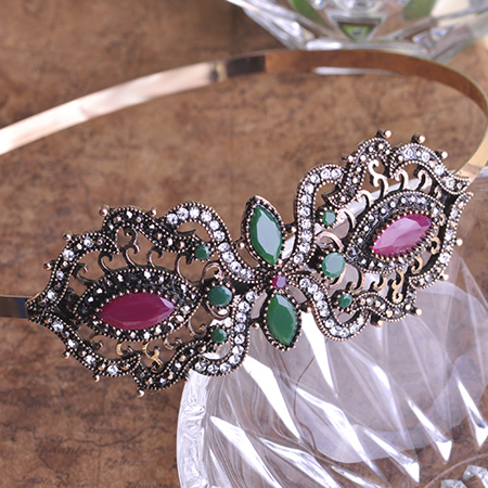 Newest Vintage Flower Bow Hairband Hair Clip Hairpins Headdress Turkish Jewelry Antique Gold Plated acessorios para cabelo Crown(China (Mainland))