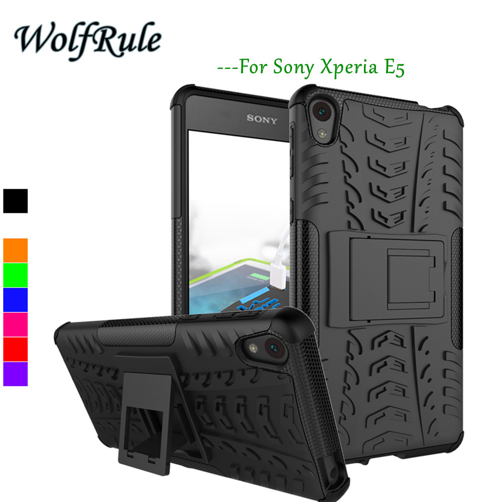 Tank Cover Sony Xperia E5 Case Soft Rubber & Hybrid PC E 5 Phone Holder Stand Coque  -  Shenzhen Huaxia Technology co., LTD store