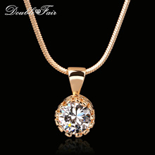 Buy Double Fair Brand Unique Crown Cubic Zirconia Necklaces &Pendants Silver/Rose Gold Color Chain Fashion Jewelry Women DFN390 for $3.60 in AliExpress store