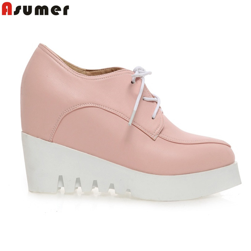2016 new arrive wedge pumps pointed toe platform wedges shoes solid color lace up female women pumps drop shipping<br><br>Aliexpress