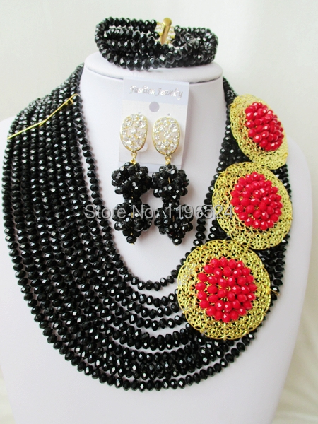 Luxury    Crystal  Necklaces Bracelet Earrings African Nigerian Wedding Beads Jewelry Set  A-8811<br><br>Aliexpress