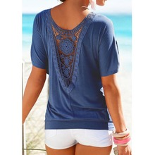 Buy Blusas Women Summer Lace Short Sleeve plus size Blouse Casual solid Tops Shirt vetement femme blusa feminino Breathable B3 for $6.07 in AliExpress store