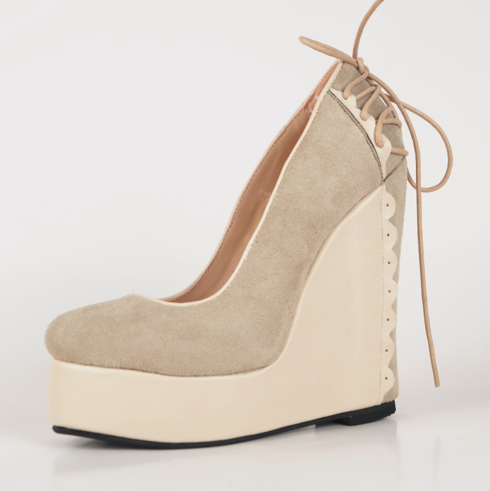 Casual Comfortable Women Wedges Slip-ons Platform Round Toe Lace-up Back High Heels Made-to-order Plus Size Desiger Women Pumps<br><br>Aliexpress