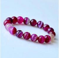 Rose Red Agate Beads Bracelets Natural Red Stones Elastic Bracelet Jewelry Women Bracelet Gift For Best Friends 0238