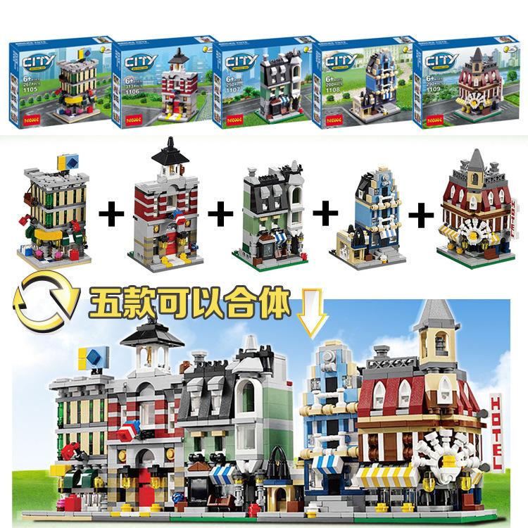 Decool1105-1109 Mini City 5 IN 1 City Series Flower Shop/Guildhre Building Block sets Children Compatible With Legoall/ Minifigu<br><br>Aliexpress