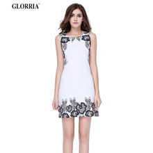 Buy Glorria Women Print Tunic White Dress 2017 Summer Sundress Ladies Elegant Office Wear Work Party Mini Dresses Clothing Vestidos for $7.99 in AliExpress store