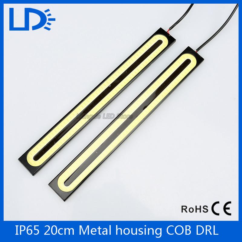 2Pcs 2016 update Ultra Bright LED Daytime Running lights DC 12V 20cm Waterproof Auto Car DRL COB Driving lamp car styling(China (Mainland))