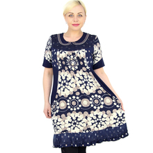 BFDADI 2016 Лето Повседневная Женщины платье С Короткими рукавами Кукла воротник Воланами платье Печатные пляж платье свадебные платья Плюс размер 21110-5(China (Mainland))
