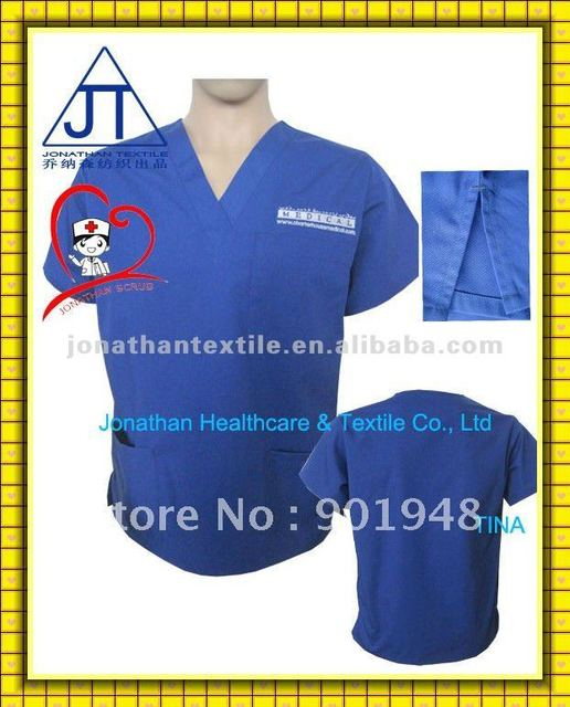 Polyester cotton medical scrubs top Various Colors