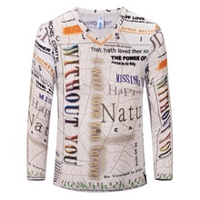 2016 New Arrivals fashion Long sleeve v neck vintage 3d t shirt men brand fashion men's t-shirts tops tees free delivery