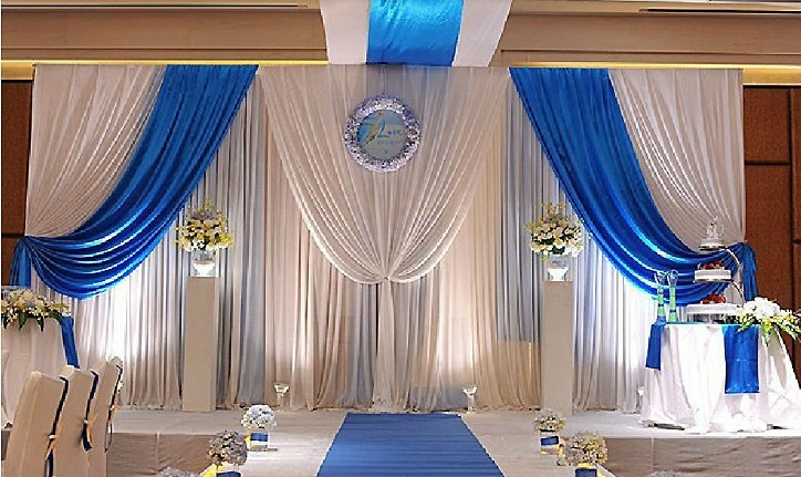 3m 6m white blue wedding backdrop curtain swag stage