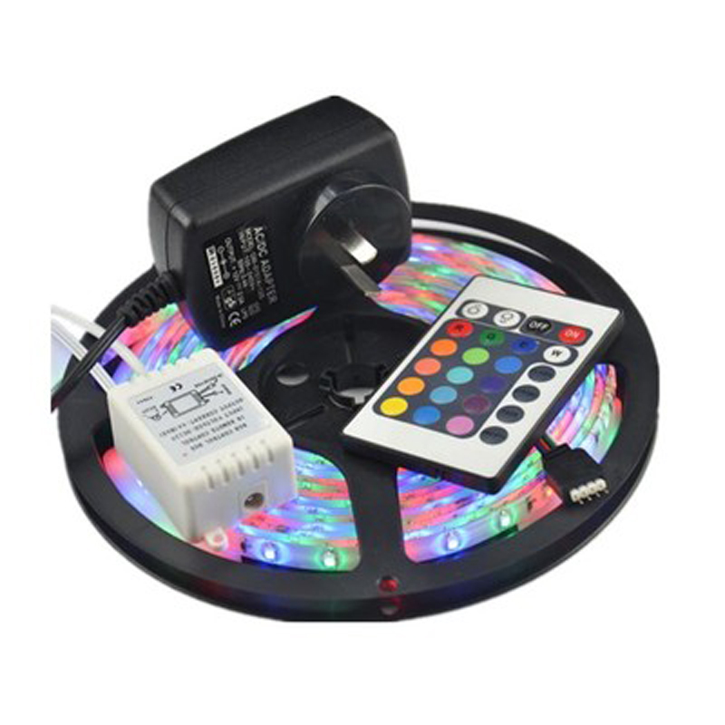 Waterproof 3528 RGB Led Strip Flexible Light 60led/m 5M 300 LED SMD DC 12V+ 2A Power Supply + IR Remote Control free shipping(China (Mainland))