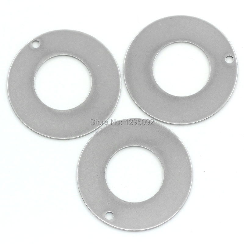 100Pcs wholesale DIY Stainless Steel Donut Round Circle Charms Pendants Silver Tone Blank Stamping Tags 30mm