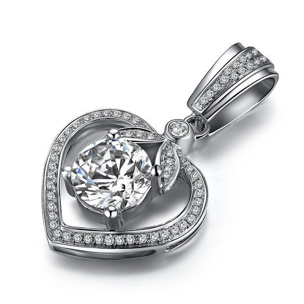 ZOCAI GUARDIAN OF LOVE 1.11 CT H / SI DIAMOND 18K WHITE GOLD HEART PENDANT + 925 STERLING SILVER  CHAIN NECKLACE
