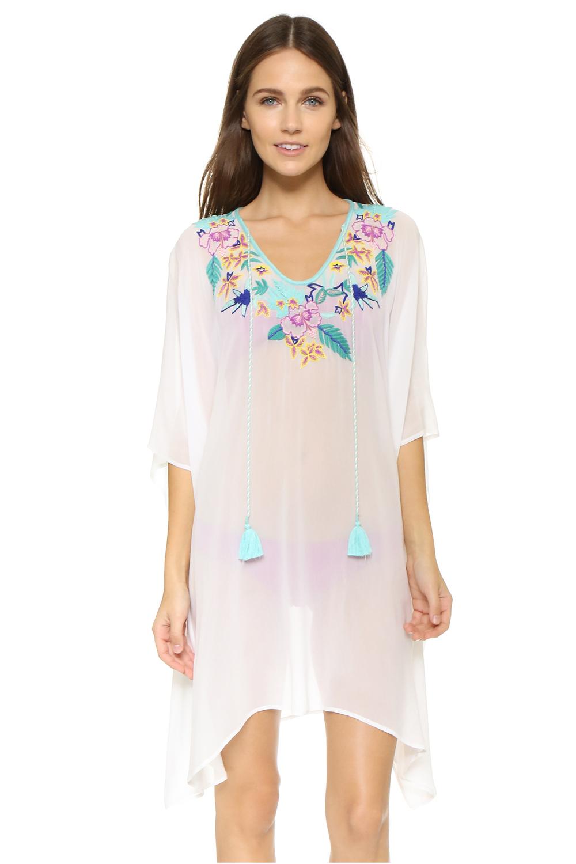 Dear Lover 2016 Holiday Output Fashion Women White Tassel Trim Knitted Beach Caftan Summer Dress Kimono vestido bohemios LC41535(China (Mainland))