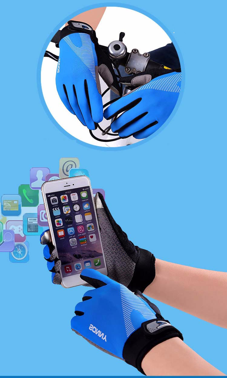 2Glv812 Men\`s sports outdoor cycling long finger gloves antiskid touch-screen thin motorcycle gloves