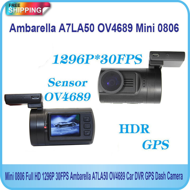 Free Shipping!! Original Newest Upgrade Mini 0806 Full HD 1296P 30FPS Ambarella A7LA50 OV4689 Car DVR GPS Dash Camera(China (Mainland))