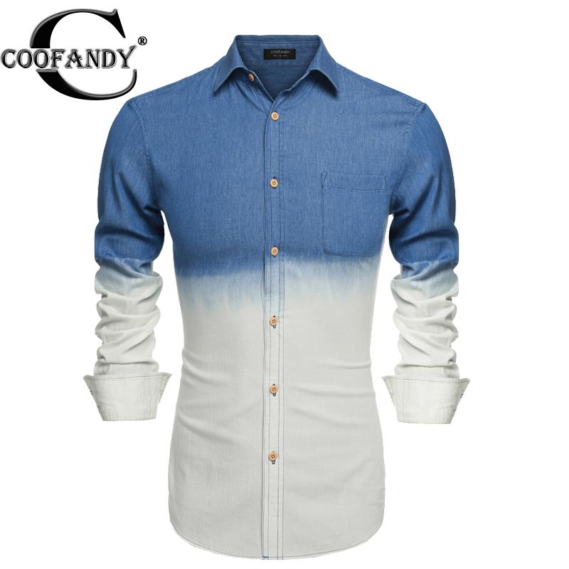 Coofandy shirt Men Fashion Slim Fit Long Sleeve Gradient Color Demin Casual blouse Shirts for men plus size S,M,L,XL,XXL,XXXL(China (Mainland))