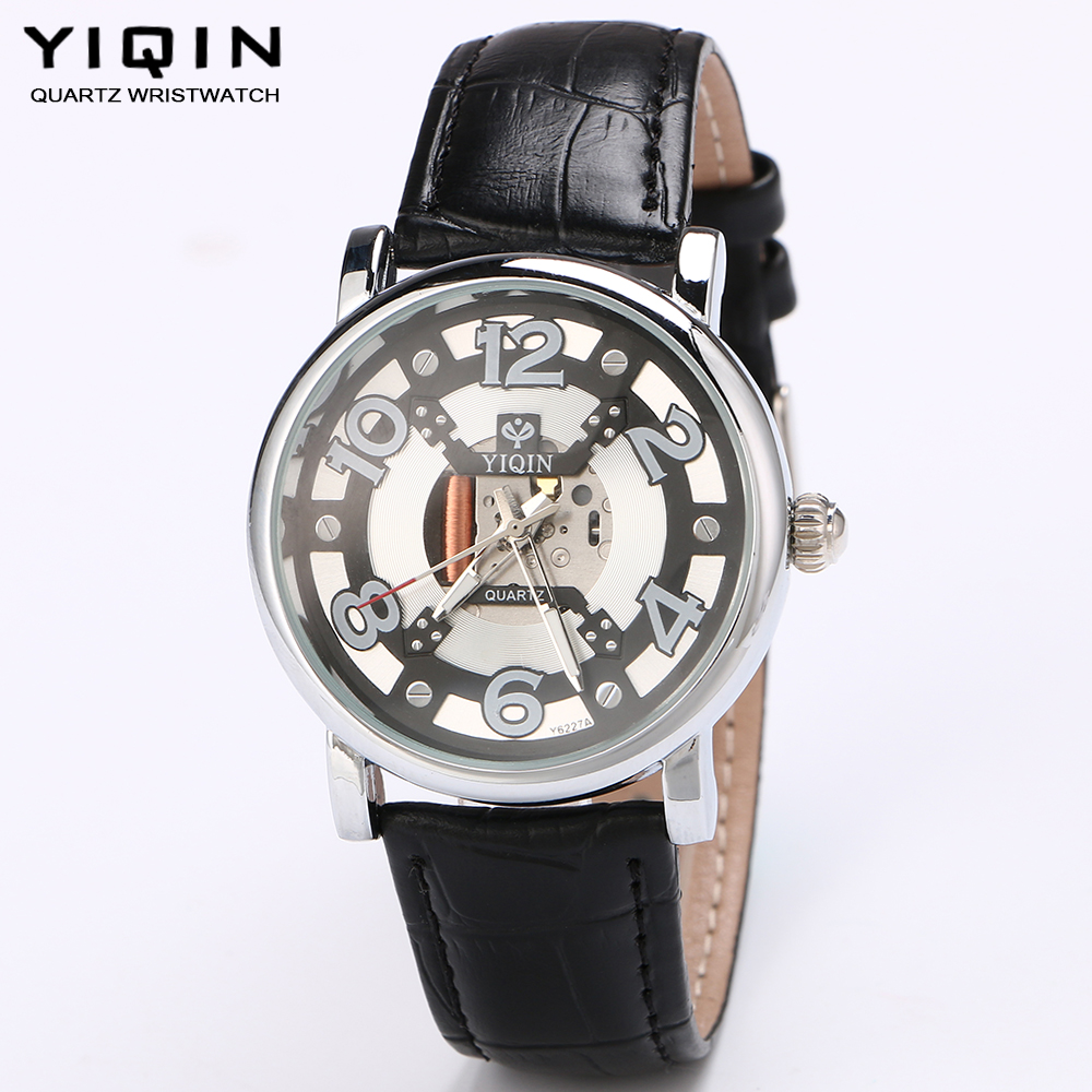 YIQIN Leather strap quartz watch men's casual fashion boy watches gift watches outdoor sports watch brand new hour hollow clock(China (Mainland))