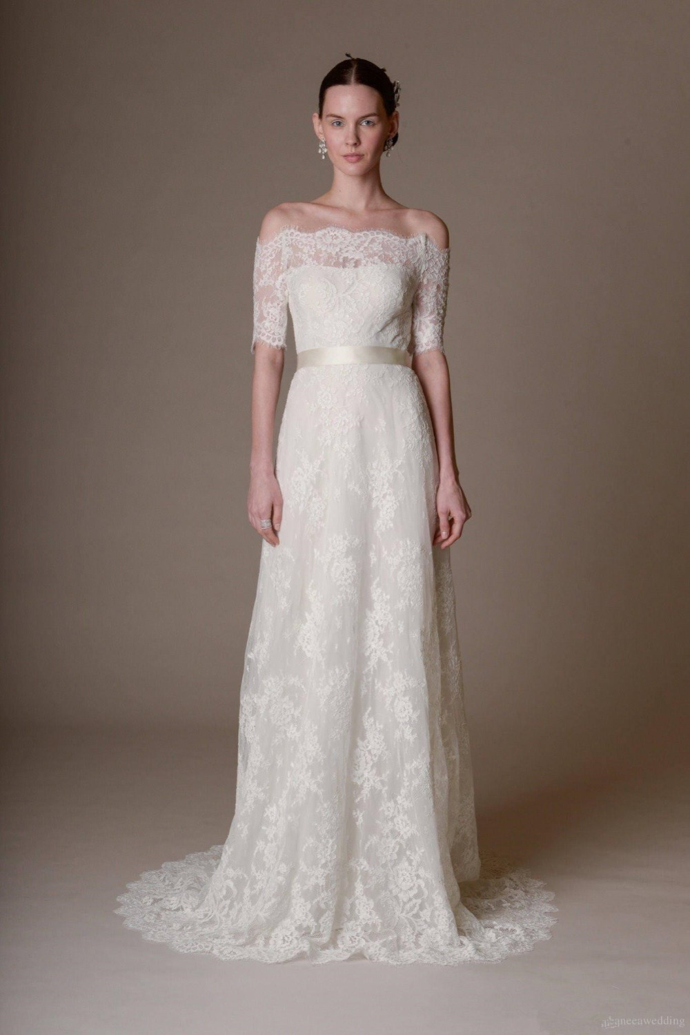 Custom made 2015 lace wedding dresses plus size off the for Off white plus size wedding dresses