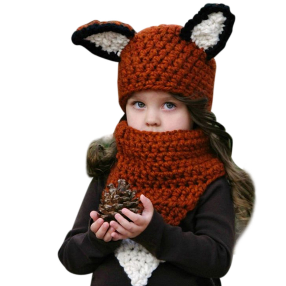 2017 New High Quality Scarf Caps Winter Baby Hats Kids Girls Warm Fox Scarf Caps Lovely Baby Beanies AccessoriesFree Shipping