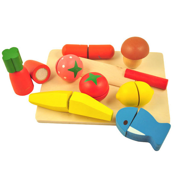 Cutting Fruit Vegetable Pretend Play Children Kid Educational Wood Kitchen Toy(China (Mainland))