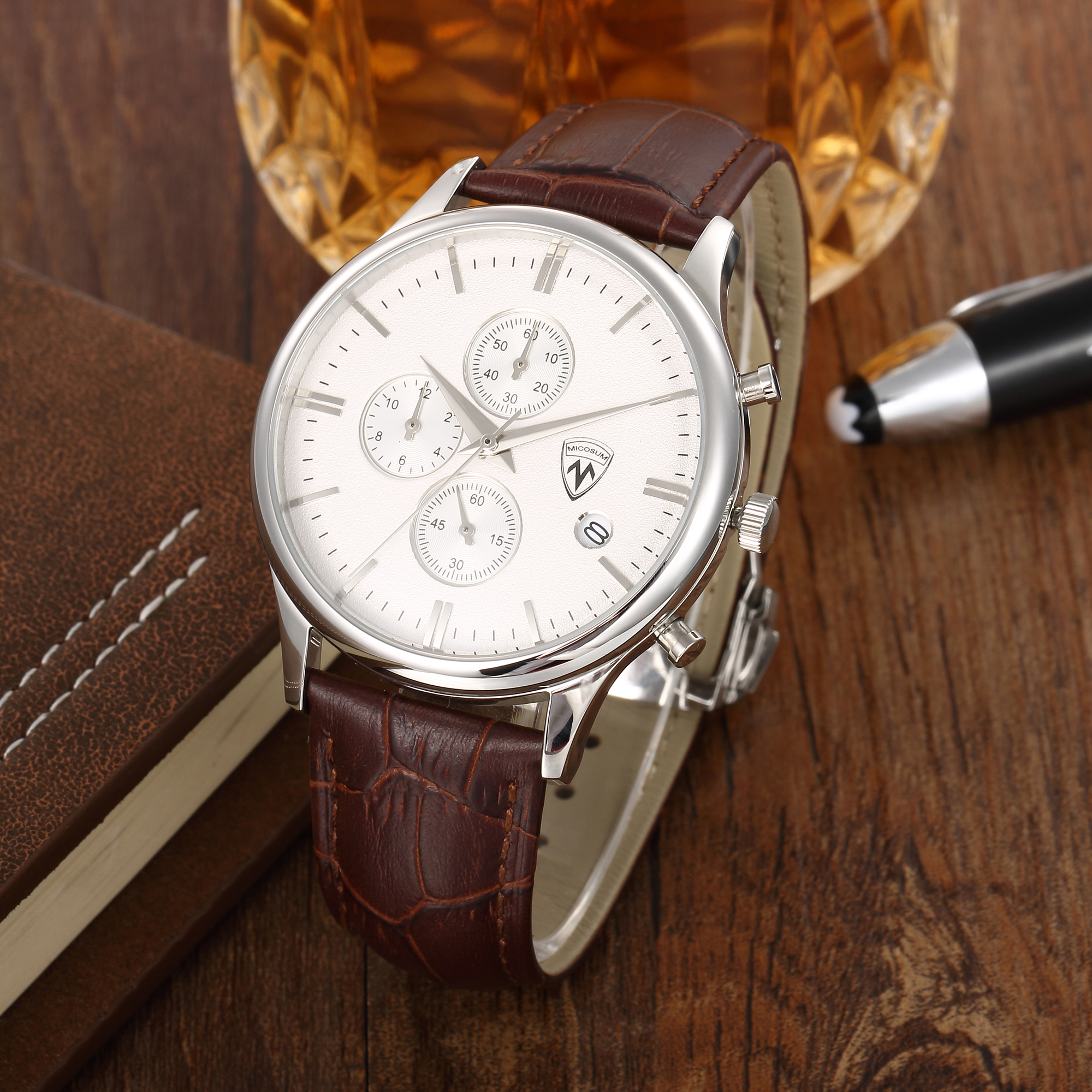 Watches Men Top Quality Brand Luxury Stainless Steel Case Sapphire Crystal Chronograph Quartz Watch Leather Wristwatches(China (Mainland))