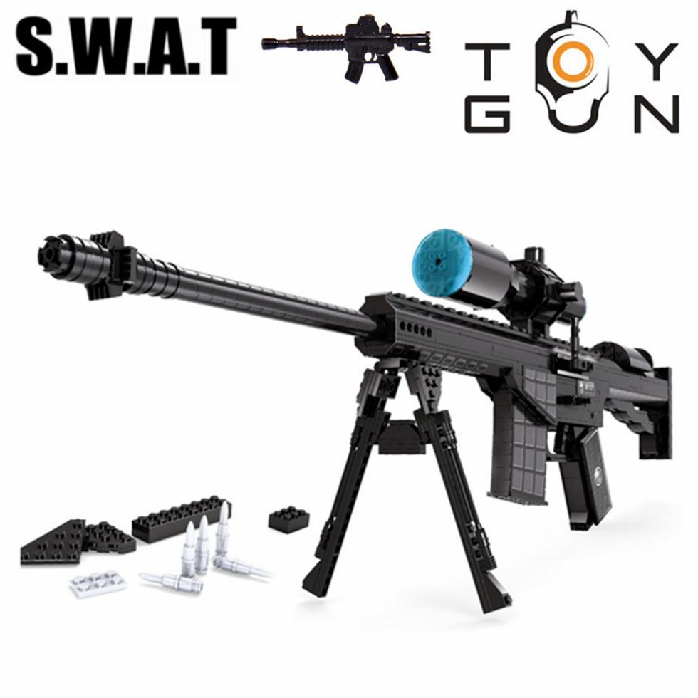 52M107 Sniper Assault Rifle GUN Weapon Arms Model 3D DIY Building Blocks Bricks Children Kids Toys Gifts