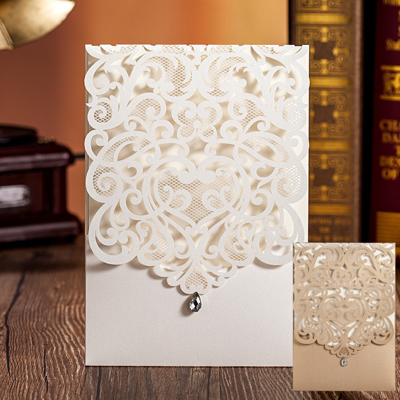 50pcs/lot Vertical White Classic Style Engagement card / Wedding Invitation Custom With Rhinestone & Laser Cut Flower(China (Mainland))