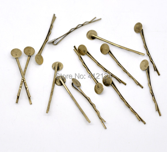 2500 Free Shipping Wholesales Hot DIY Bronze Tone Bobby Pins Hair Clips Charms Jewelry Findings Component 44mmx1.5mm(China (Mainland))