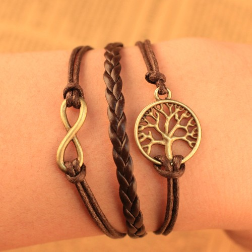 2014 European Fashion Retro Charm Braided Leather wish tree Infinity Bracelet  -  shop (min,order $10 store)
