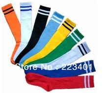Top quality kids soccer socks with 2 stripes thai multicolor training sport stocking kid football socks custom for children team(China (Mainland))