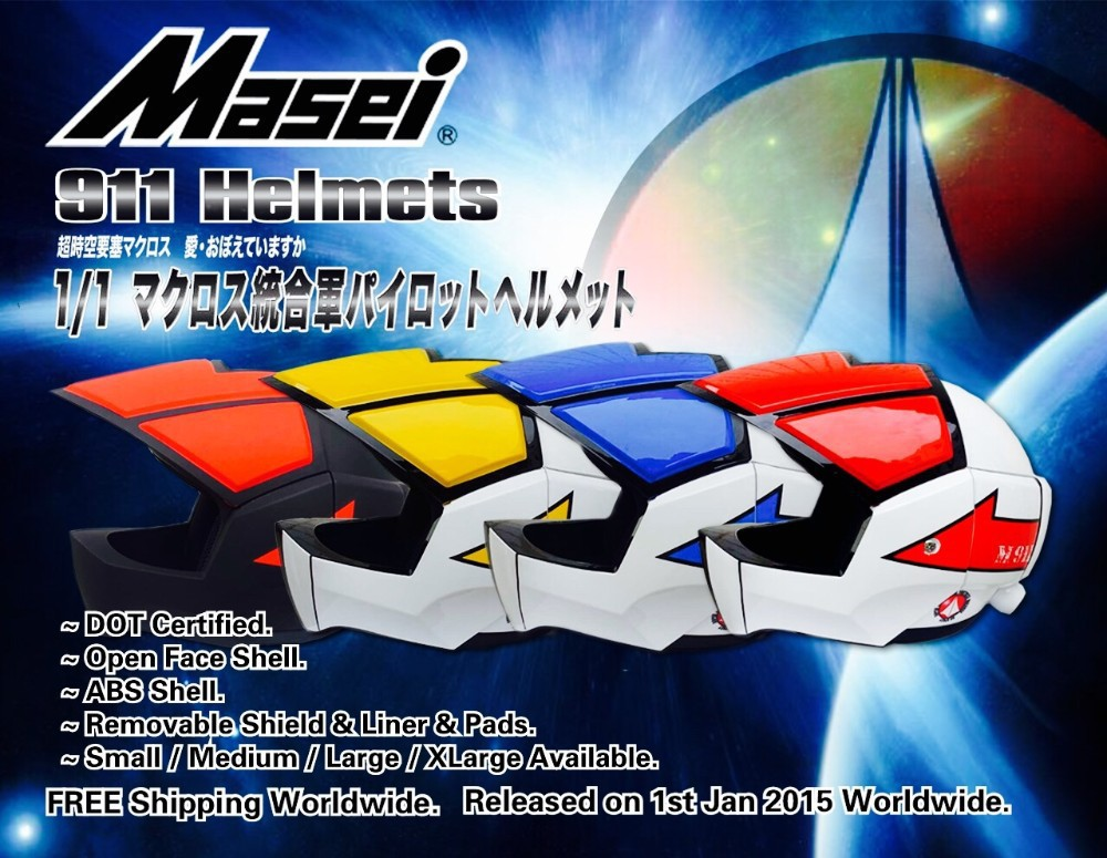 2015 Japan Motocross Robotech Helmet Masei 911 Motorcycle DOT Helmets Full Face Capacete(China (Mainland))