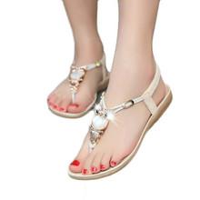 Women's Fashion Sweet Rhinestone Owl Bohemia Beaded Sandals Female Clip Toe Sandals Girls Beach Herringbone Sandals Shoes Dec12(China (Mainland))