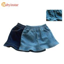 New Style 2016 Summer Denim Ruffles Baby Girls Skirt Children Lotus Leaf Edges font b Kilt