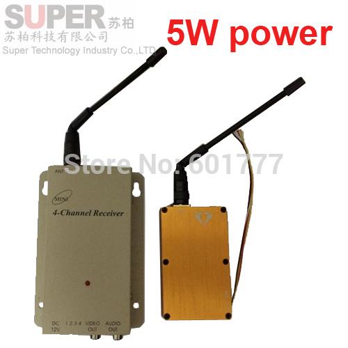 5W NEW 1.2G CCTV transmitter av transmitter 1.2G transceiver,1.2G Video Audio Transmitter Receiver,cctv camera FPV transmitter(China (Mainland))